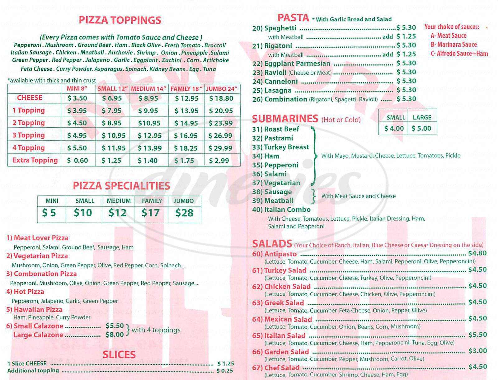 menu for New York Pizzeria
