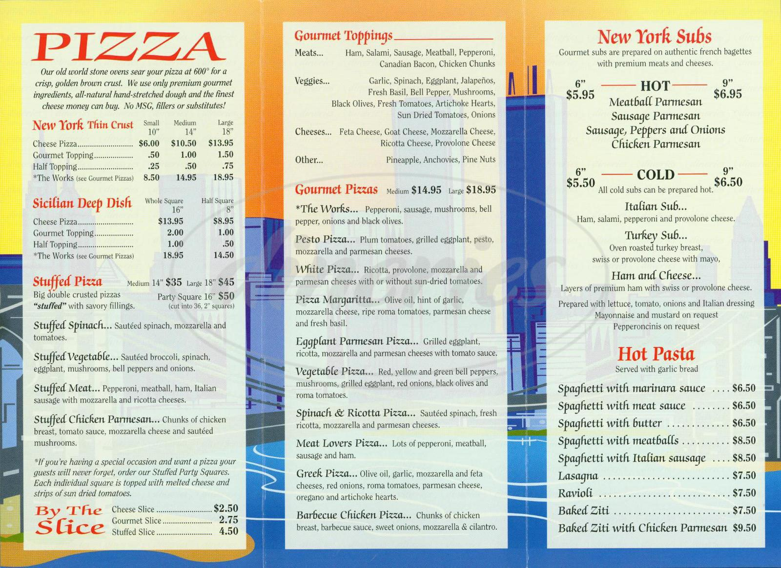 menu for New Yorks Upper Crust Pizza