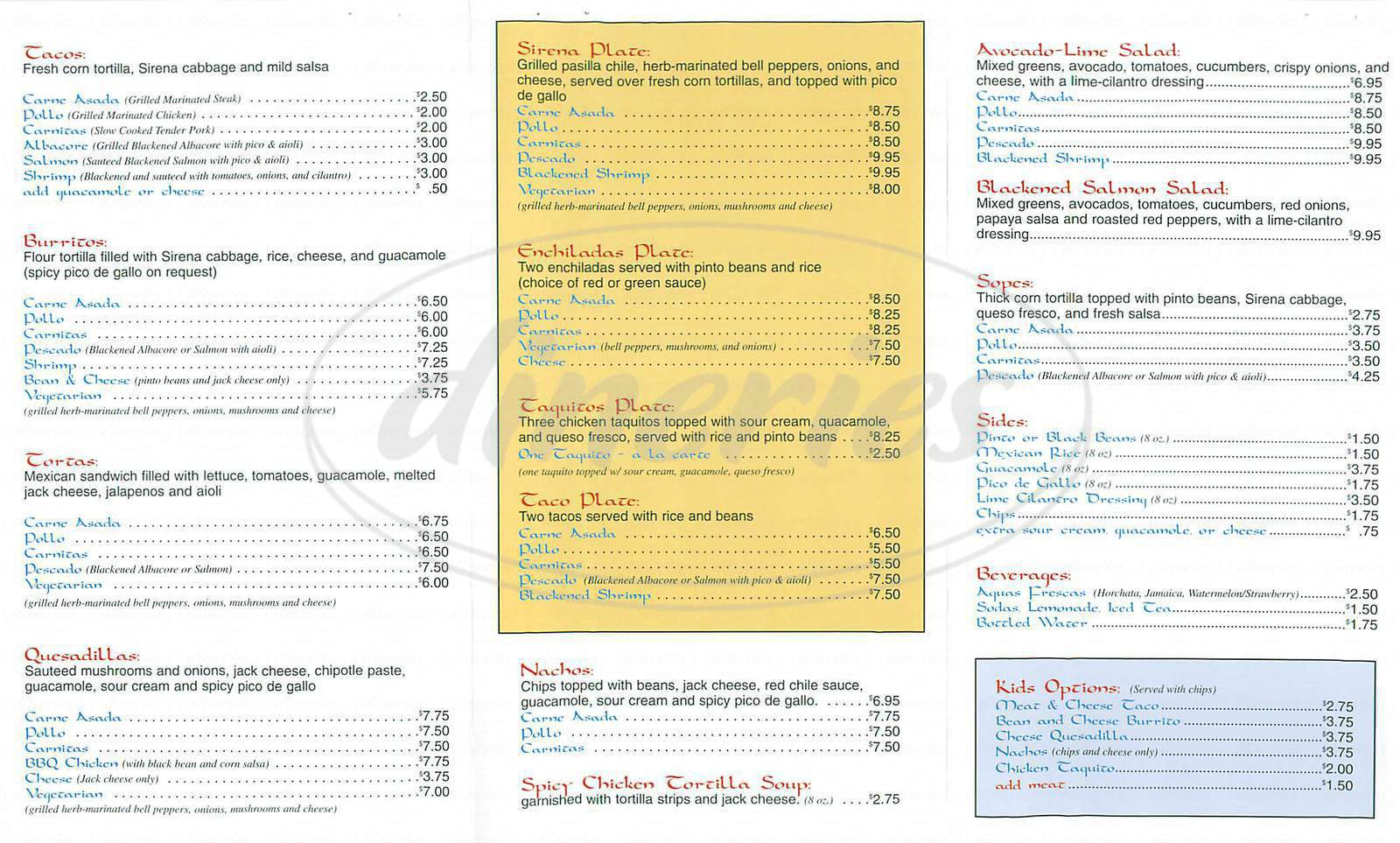 menu for La Sirena Grill