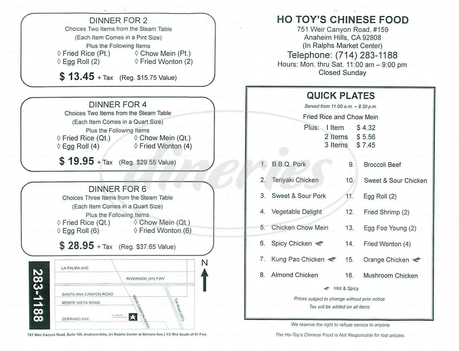 menu for Ho Toy's Chinese Food