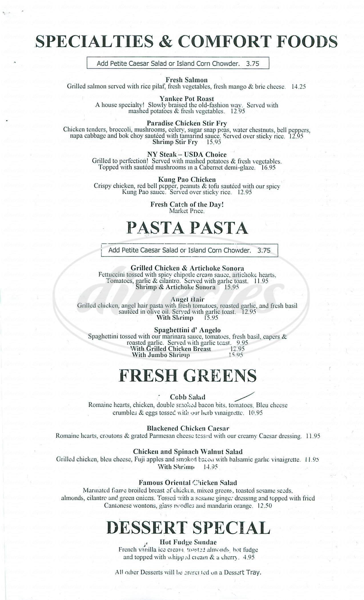menu for Paradise Café