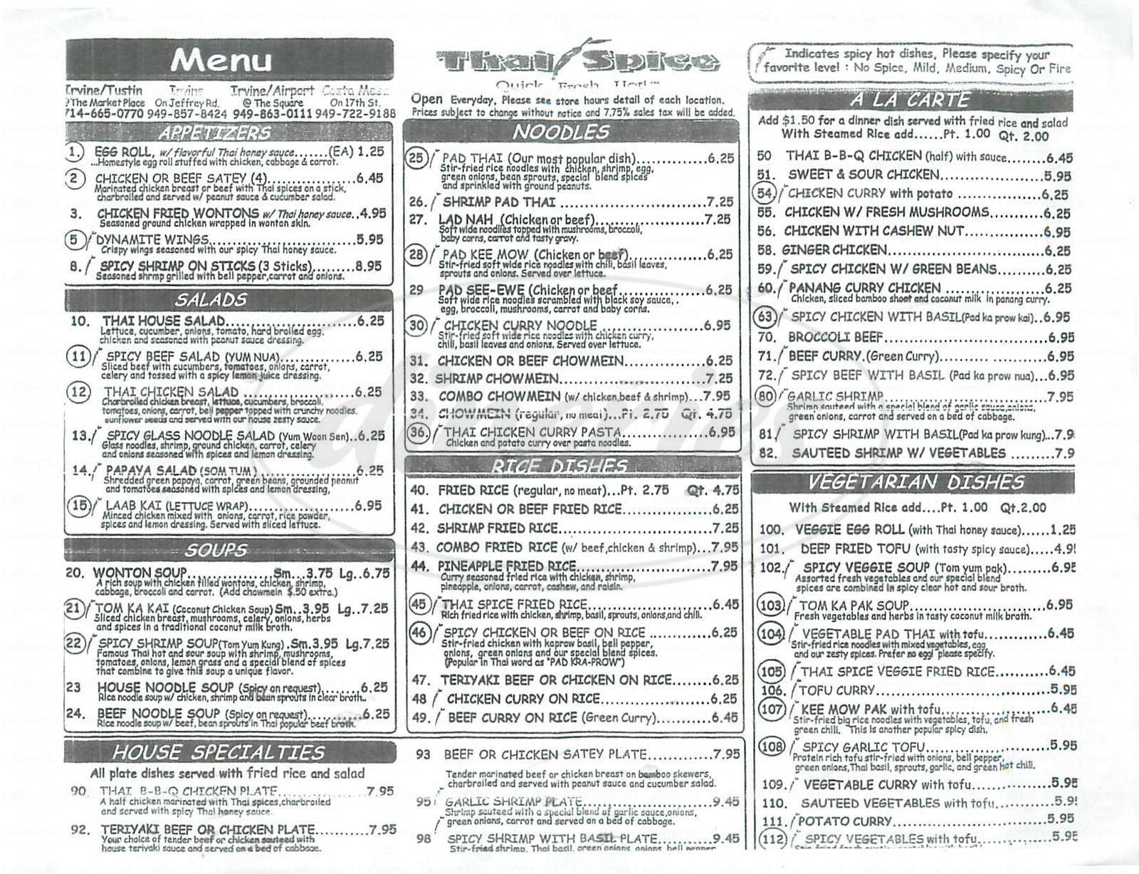 Big menu for Thai Spice, Irvine