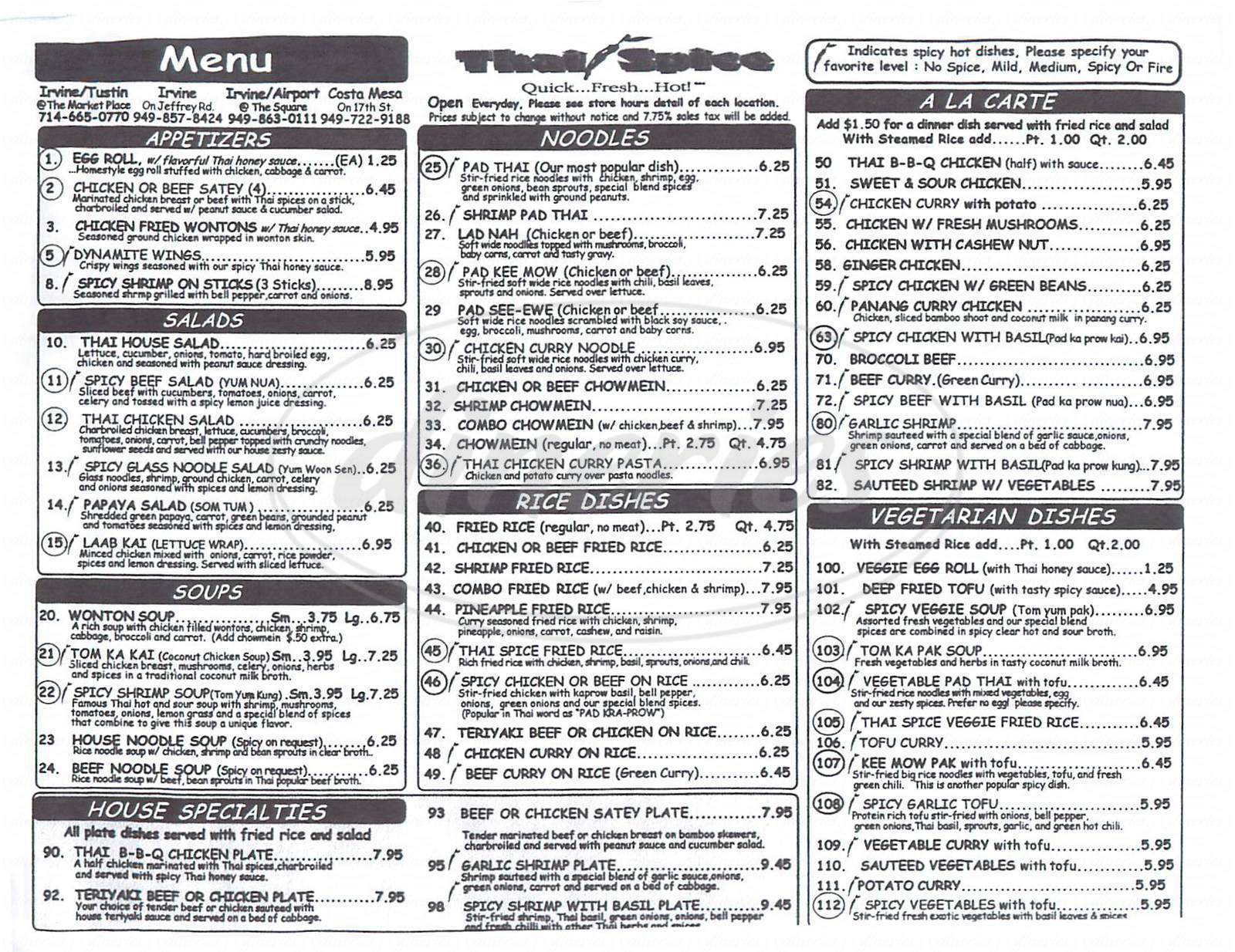 menu for Thai Spice