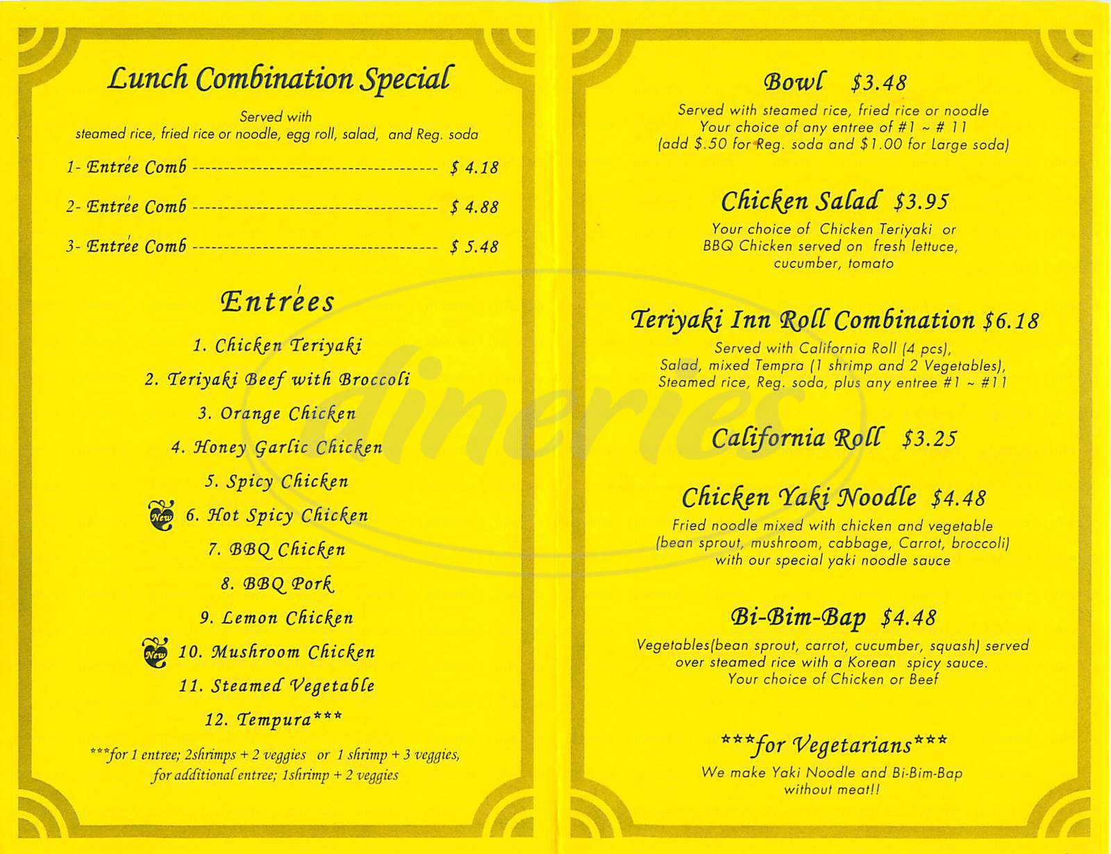 menu for Teriyaki Inn