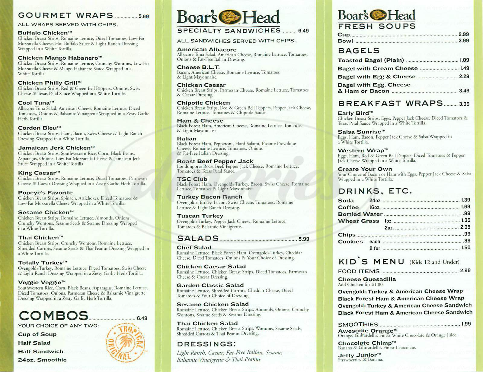 menu for Tropical Smoothie Café