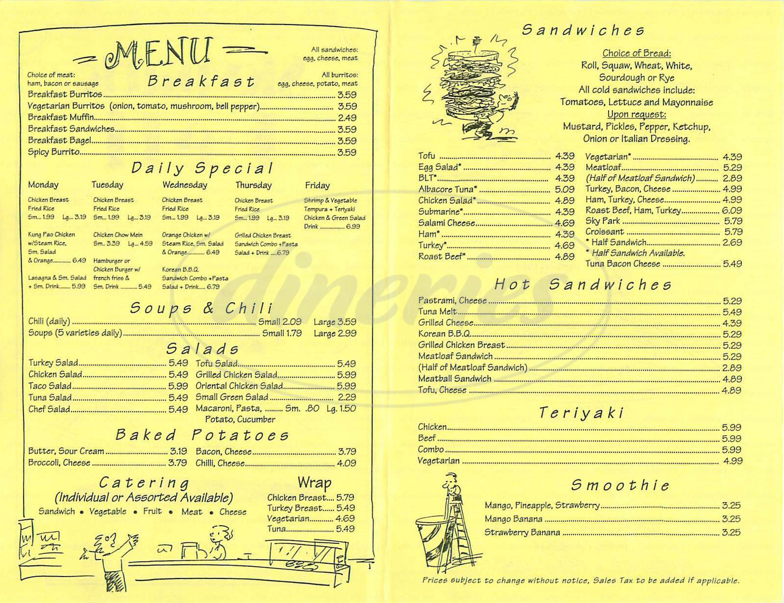 menu for Skypark Deli