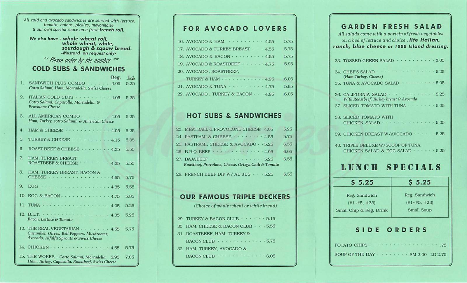 menu for Sandwich Plus