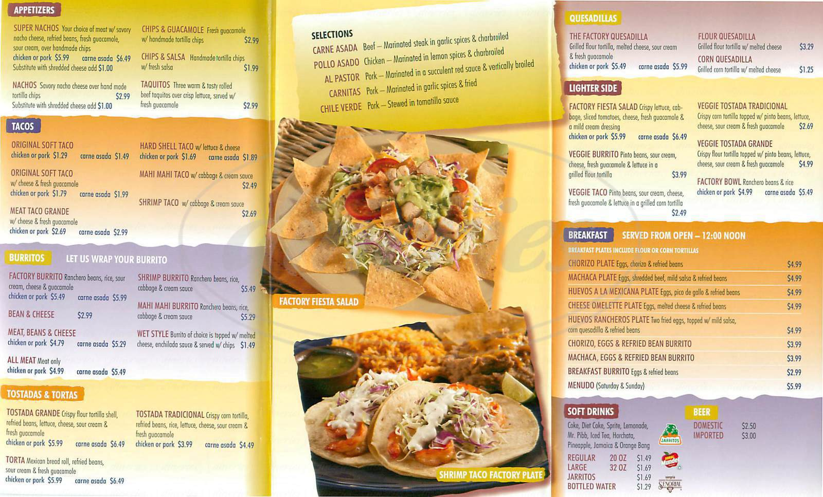 menu for Taco Factory