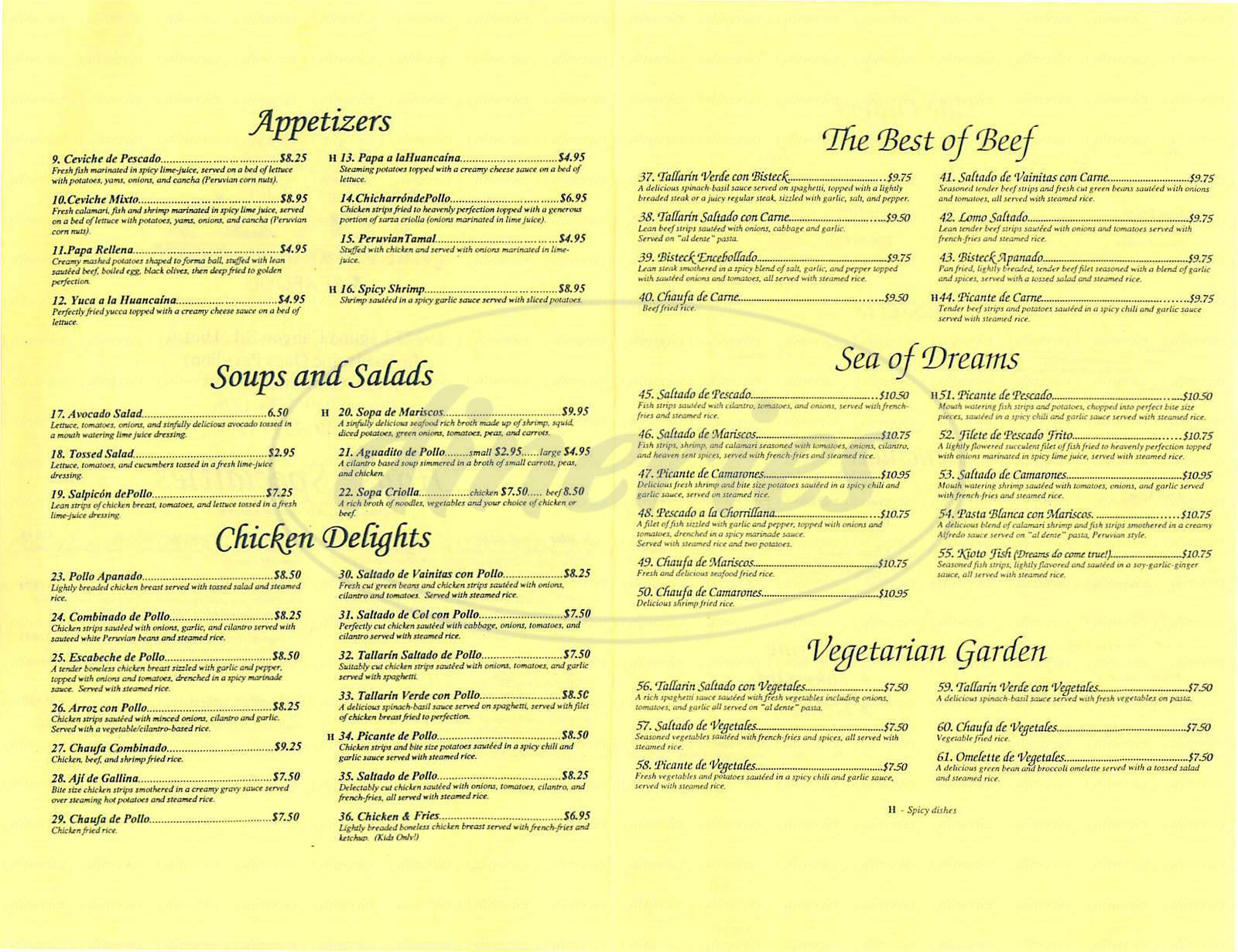 menu for Inkas Restaurant