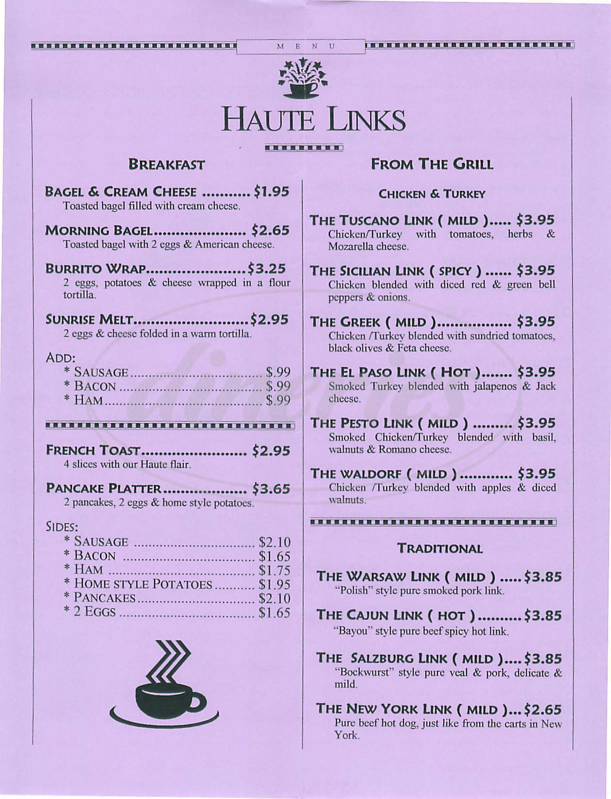 menu for Haute Links
