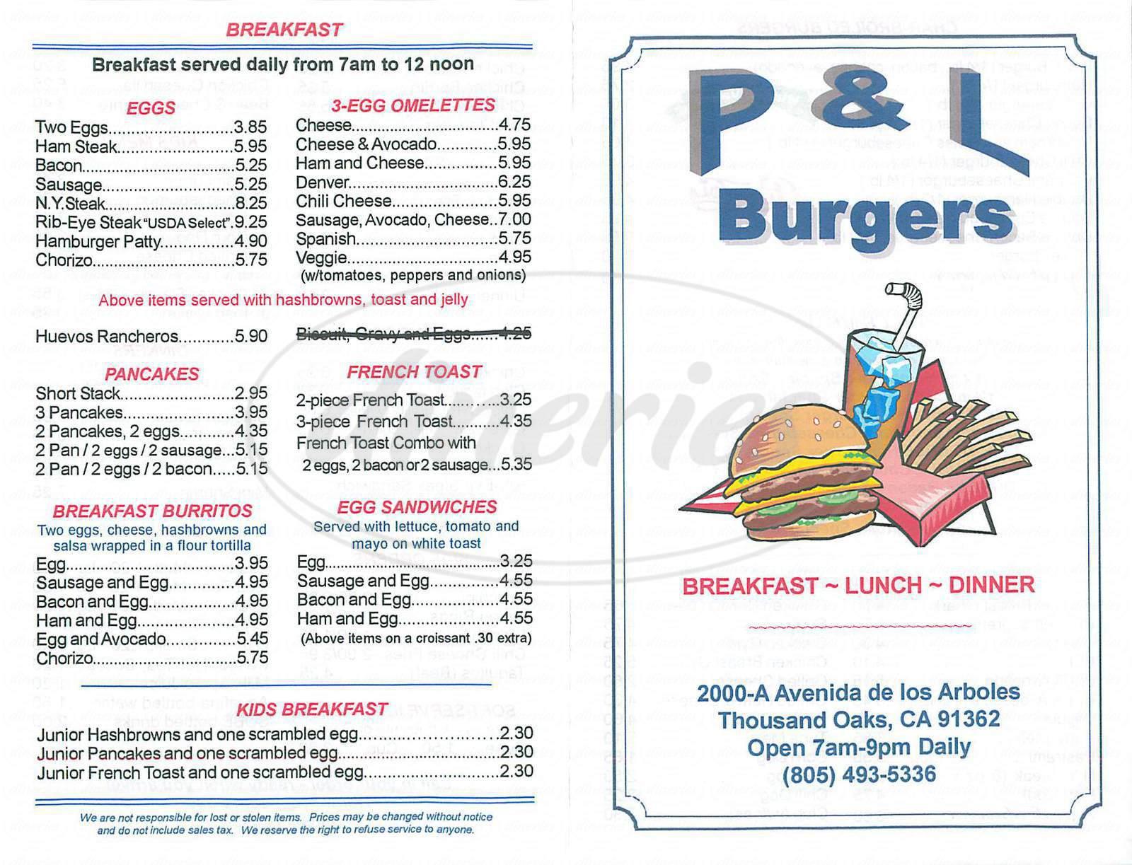 menu for P & L Burgers