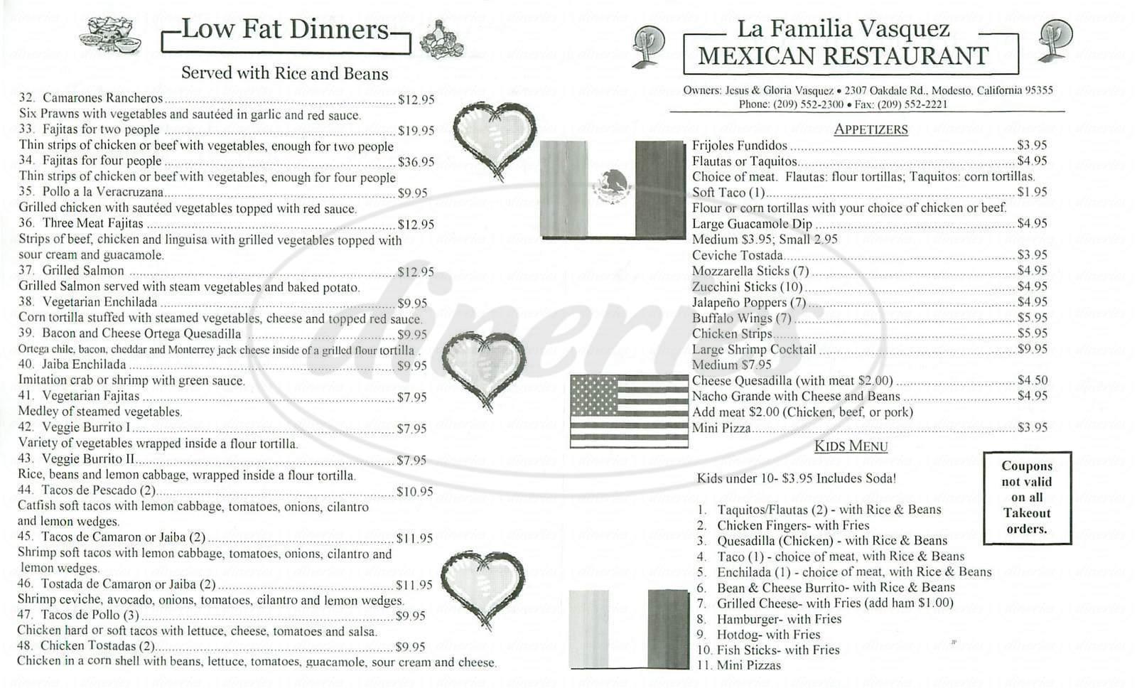 menu for La Familia Vasquez