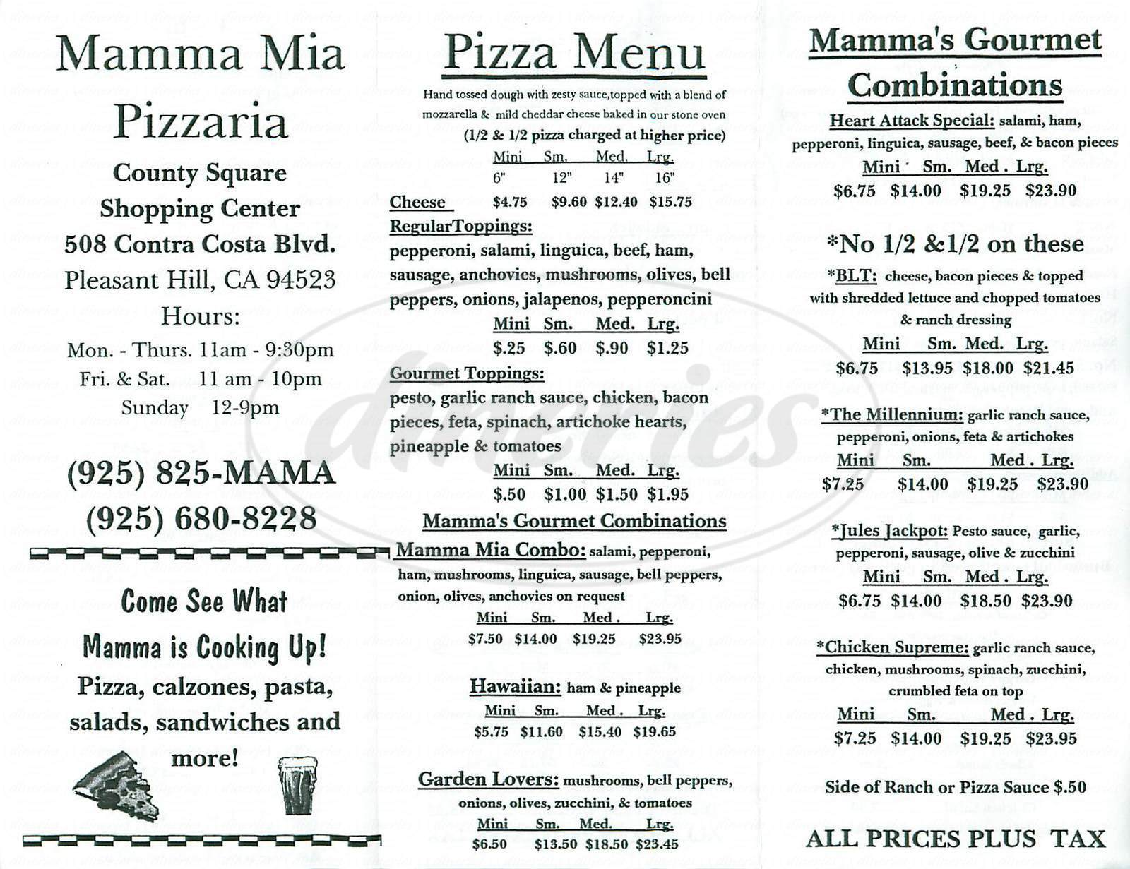 menu for Mamma Mia Pizzaria