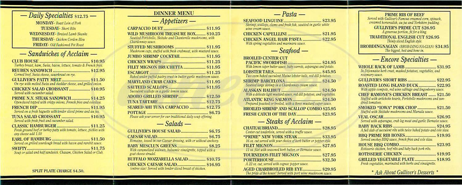 menu for Gulliver's