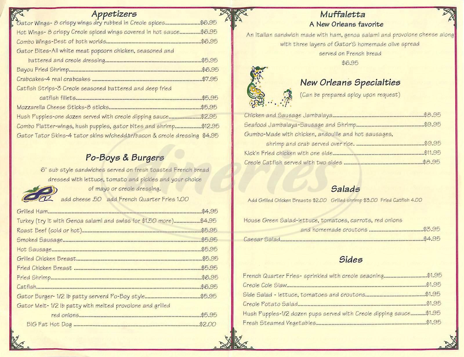 menu for Gators Up South