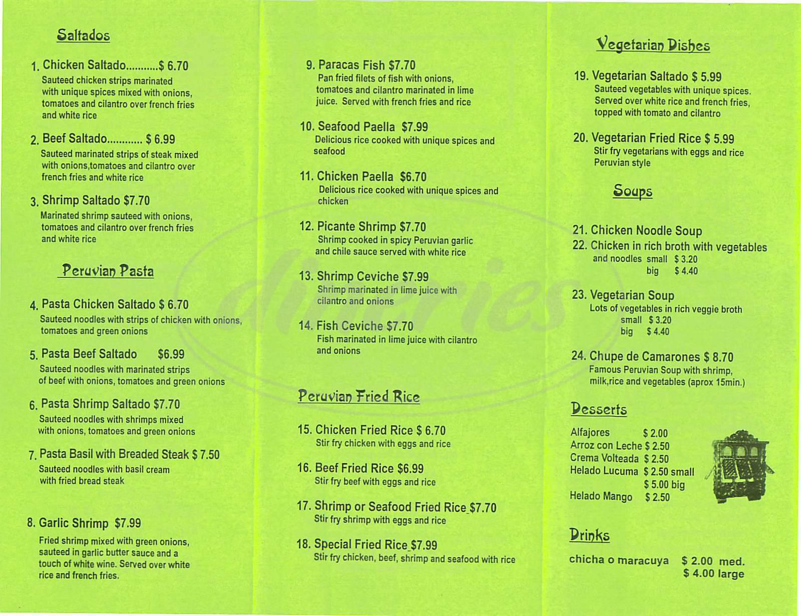 menu for Lima City