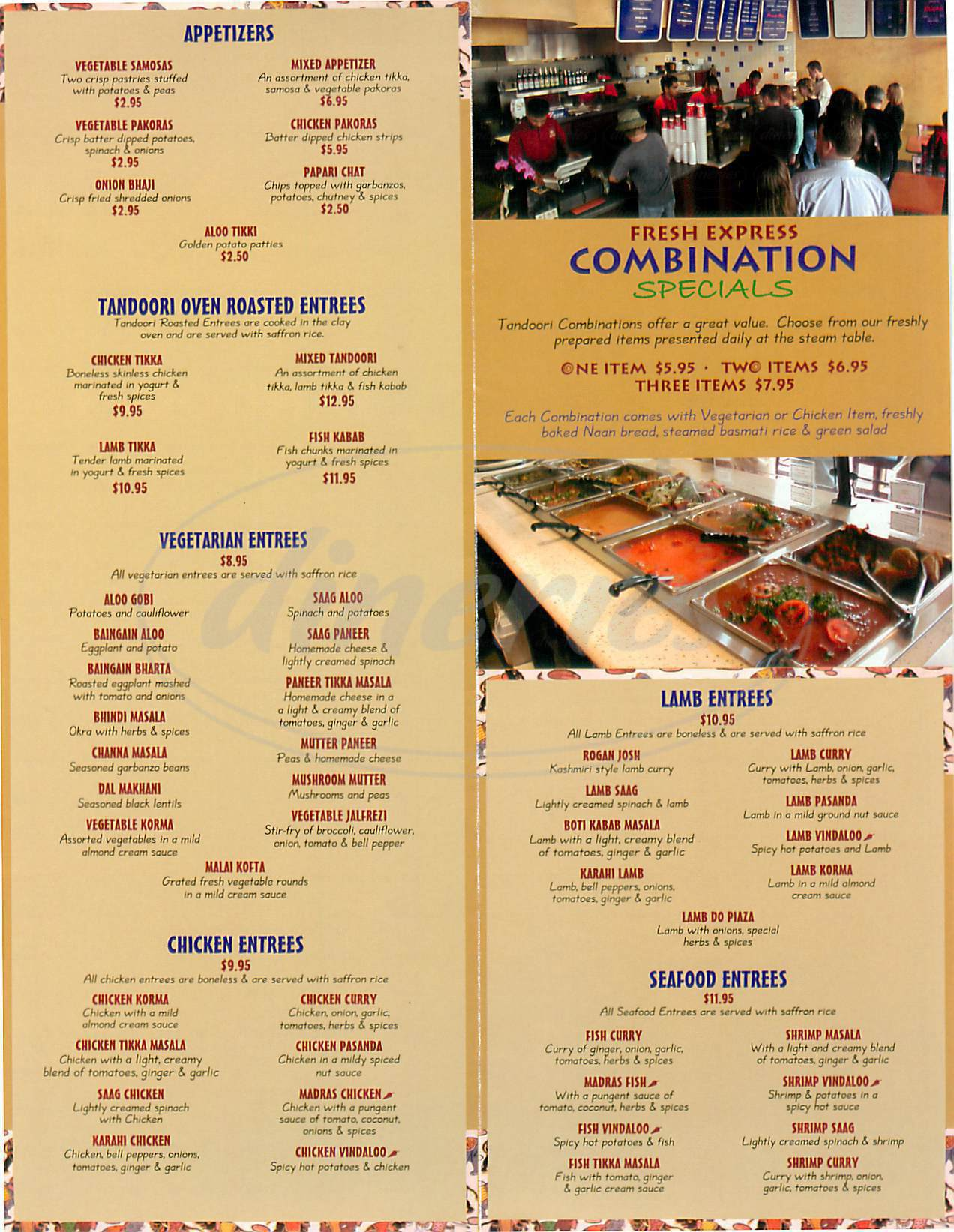 menu for Natraj's Tandoori