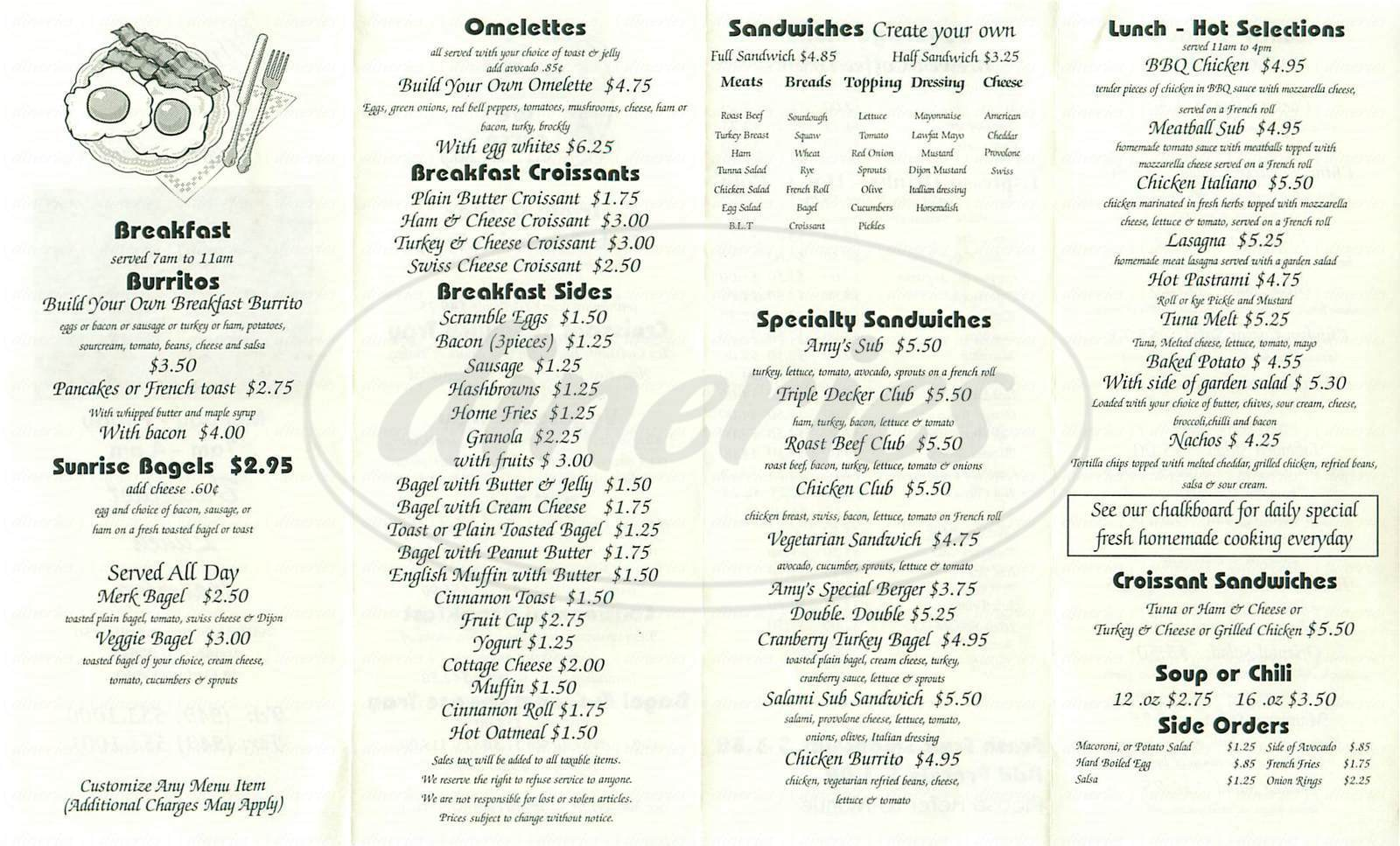 menu for Amy's Café