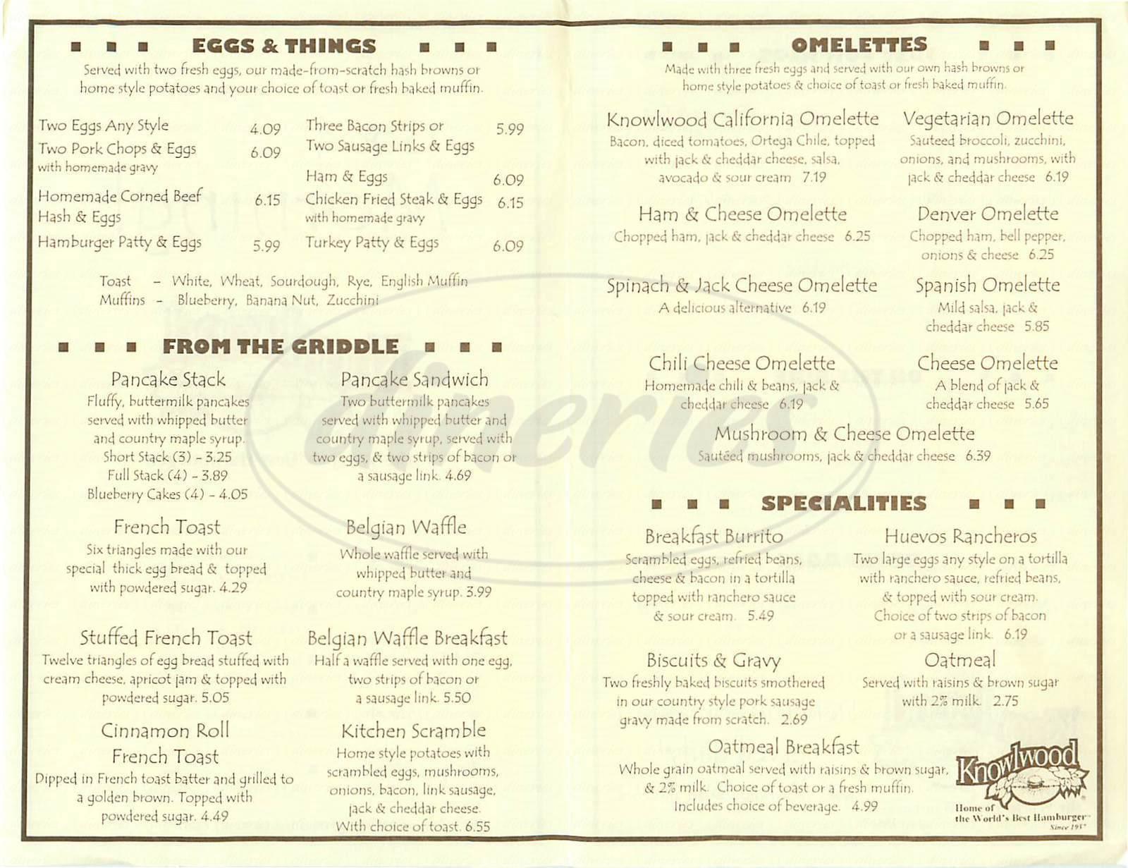 menu for Knowlwood