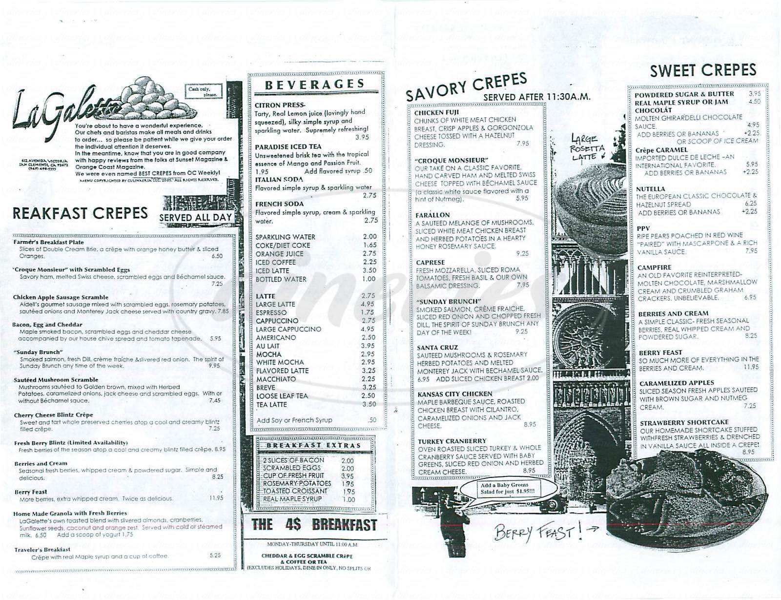 menu for La Galette Creperie