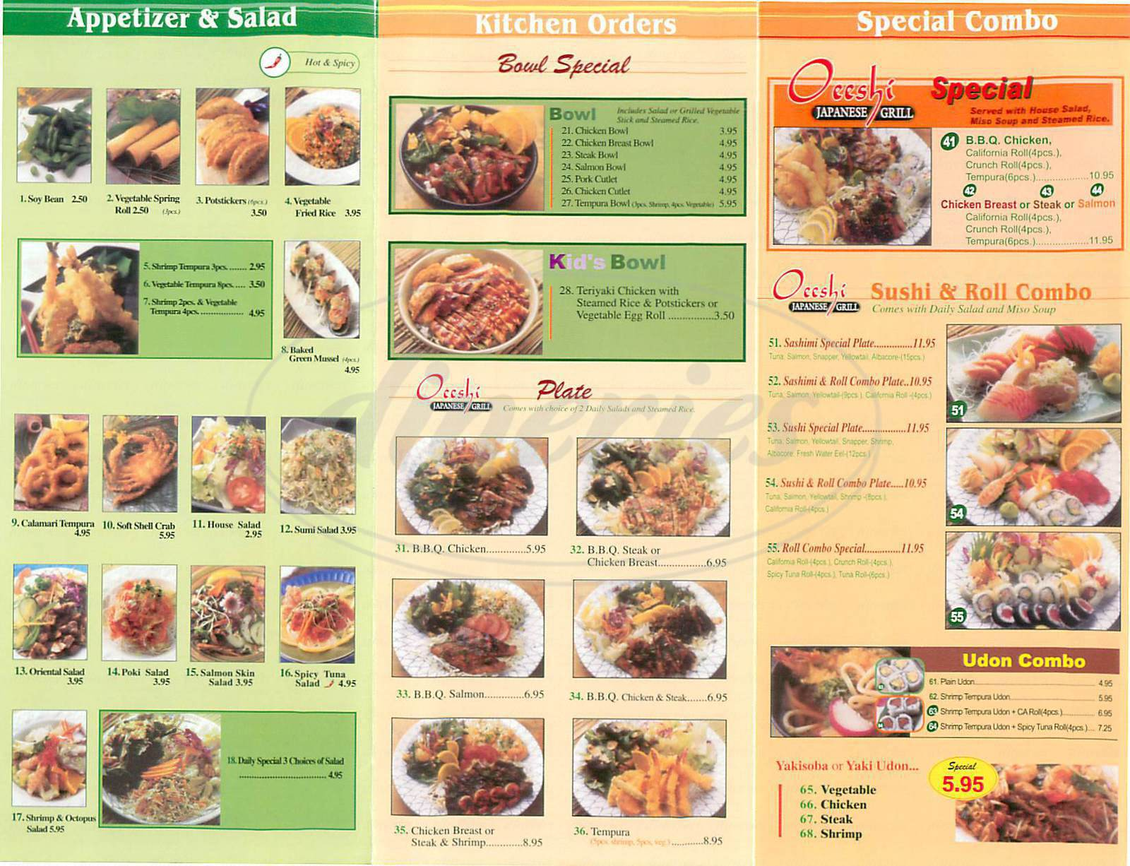 menu for Oeeshi Japanese Grill