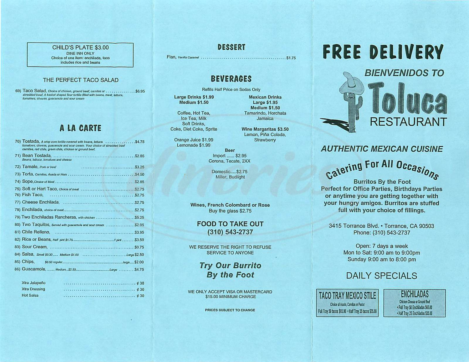 menu for Toluca Restaurant