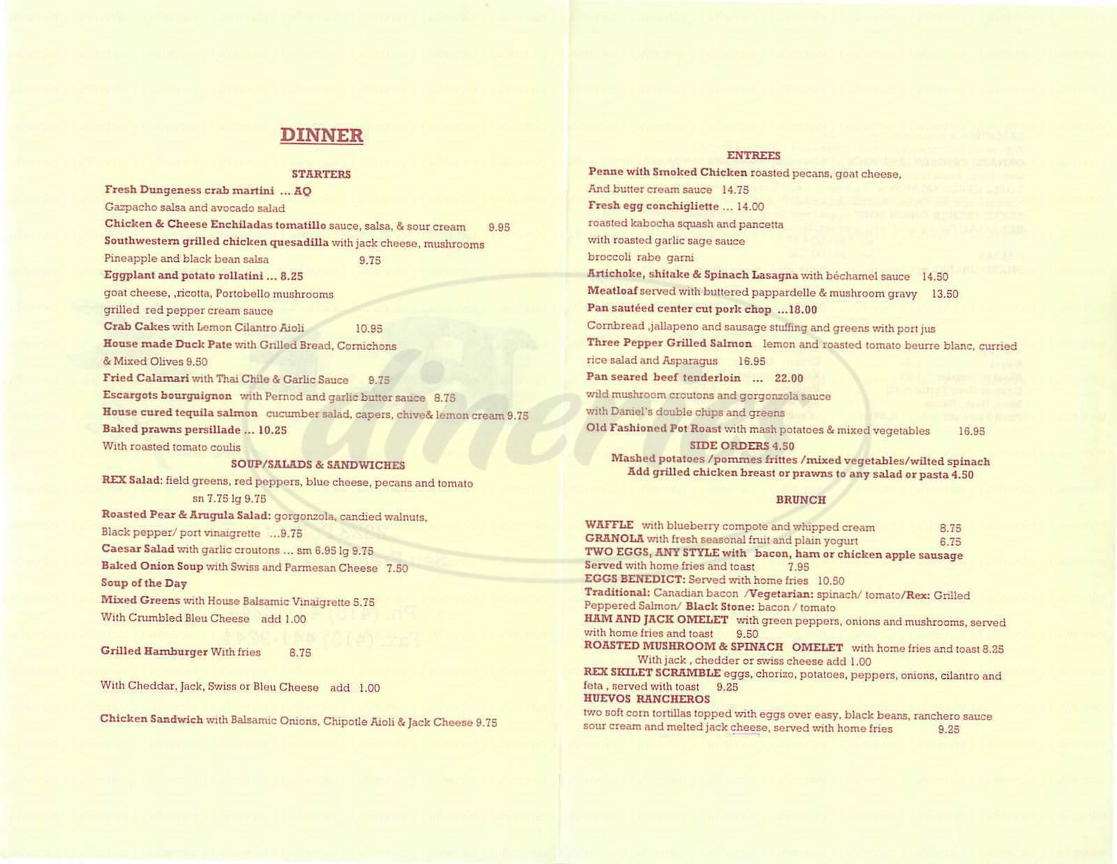 menu for Rex Café