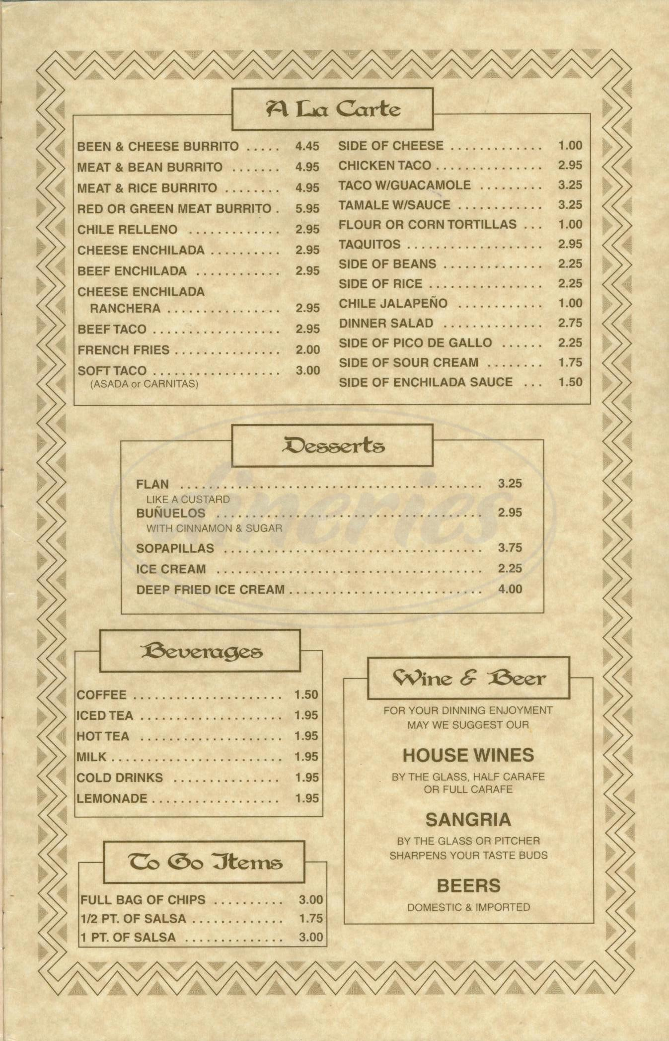 menu for Casa Gamino