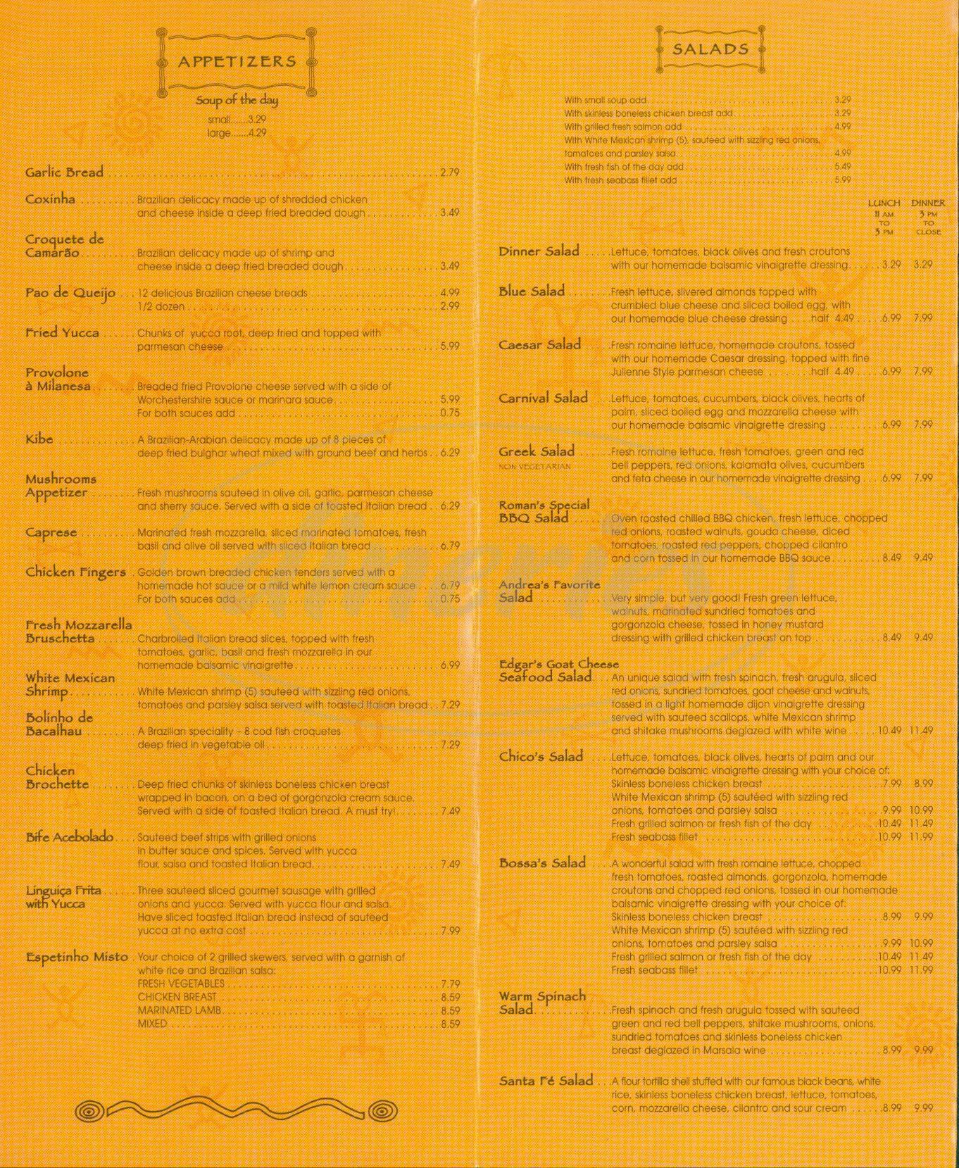 menu for Bossa Nova Brazilian Cuisine
