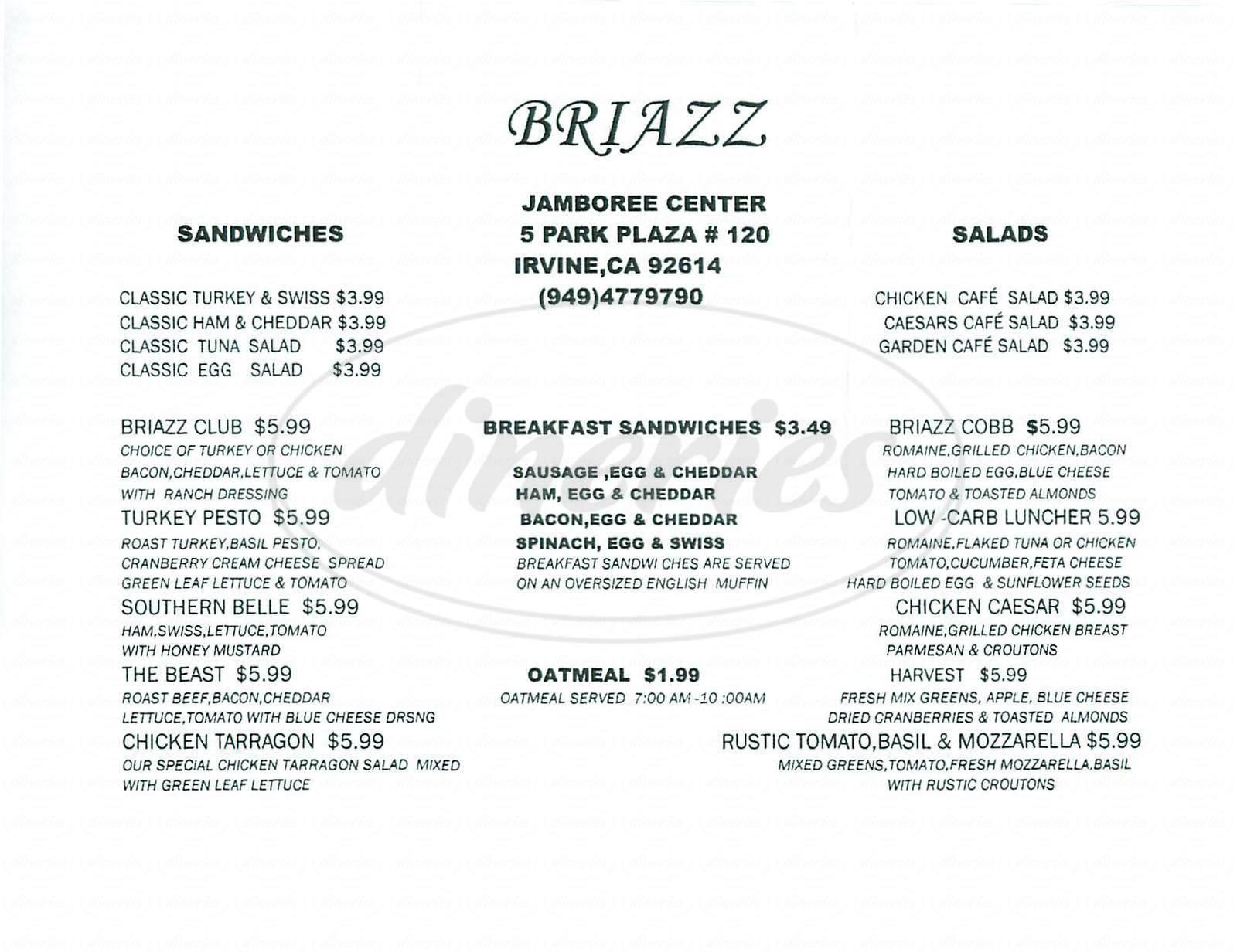 menu for Briazz