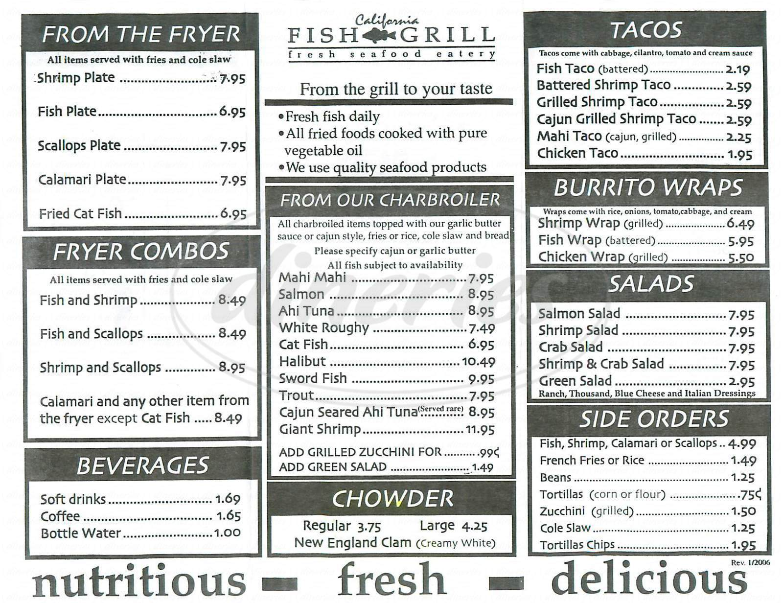menu for California Fish Grill