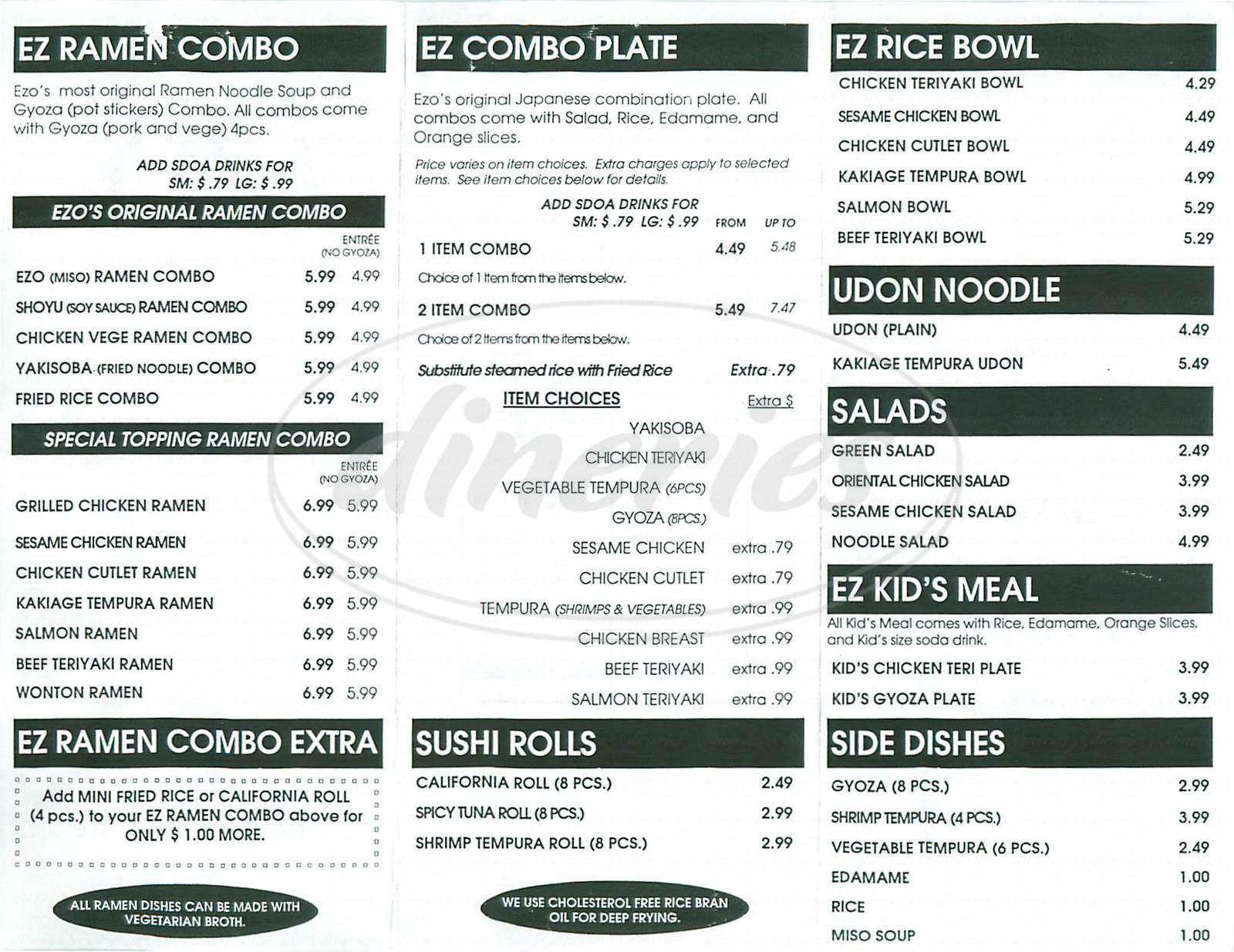 menu for EZO Noodle Café