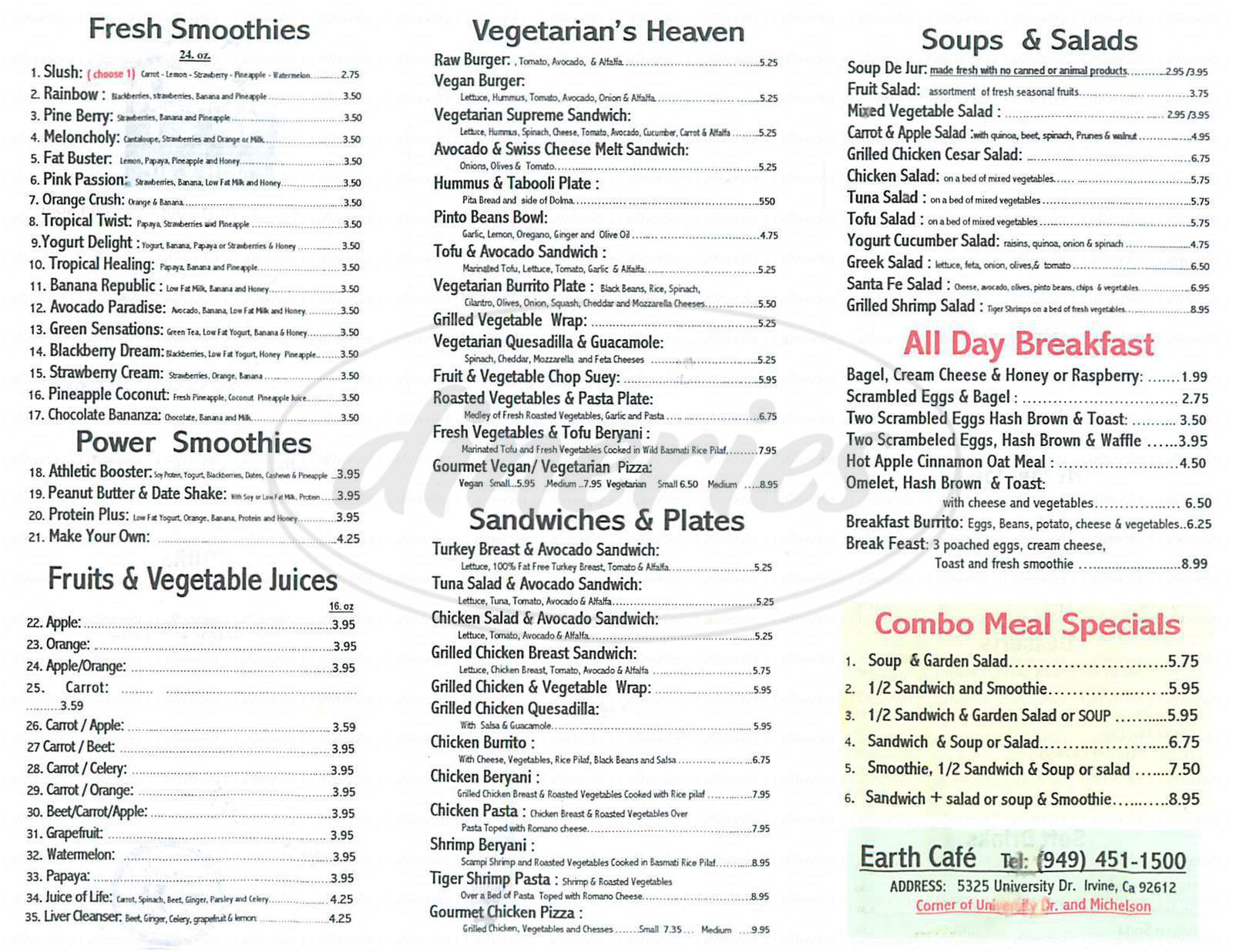 menu for Earth Café