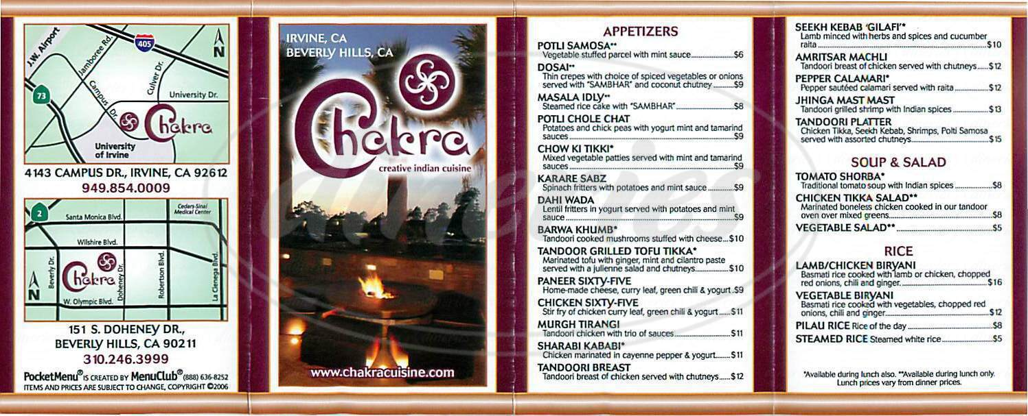 menu for Chakra Indian Cuisine