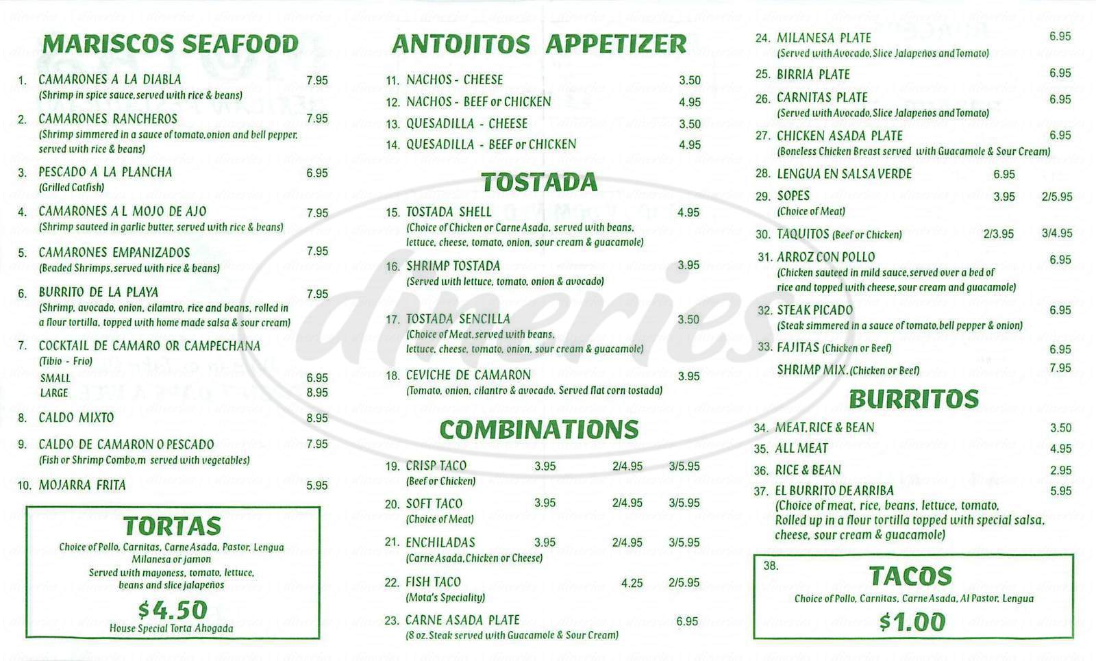 menu for Motas Mexican Resturant