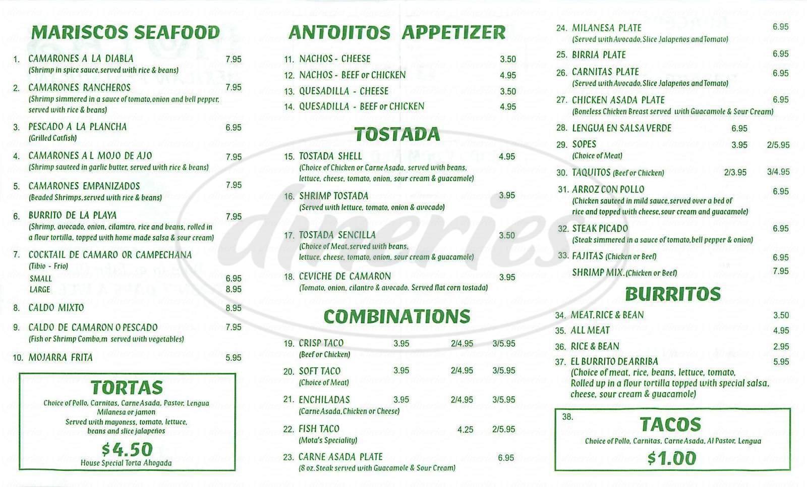 menu for Motas Mexican Resturant