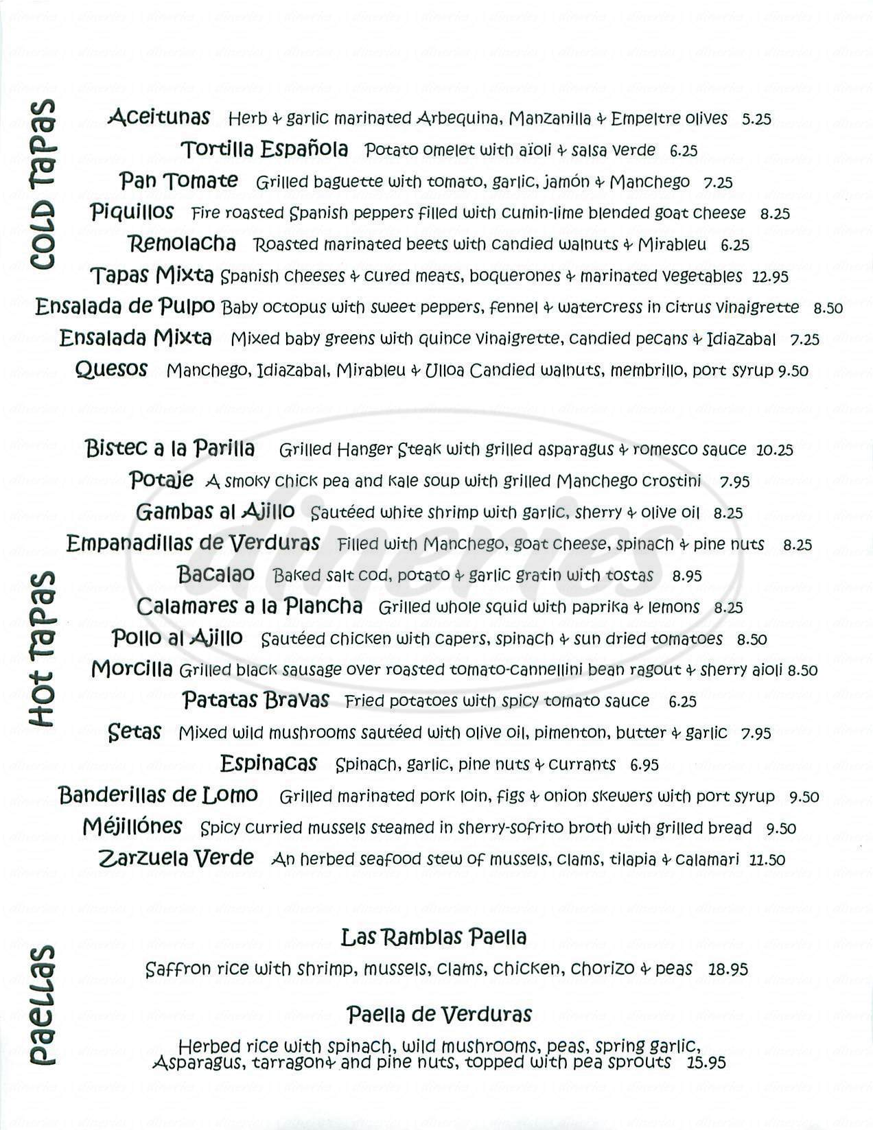 menu for Ramblas Tapas Bar