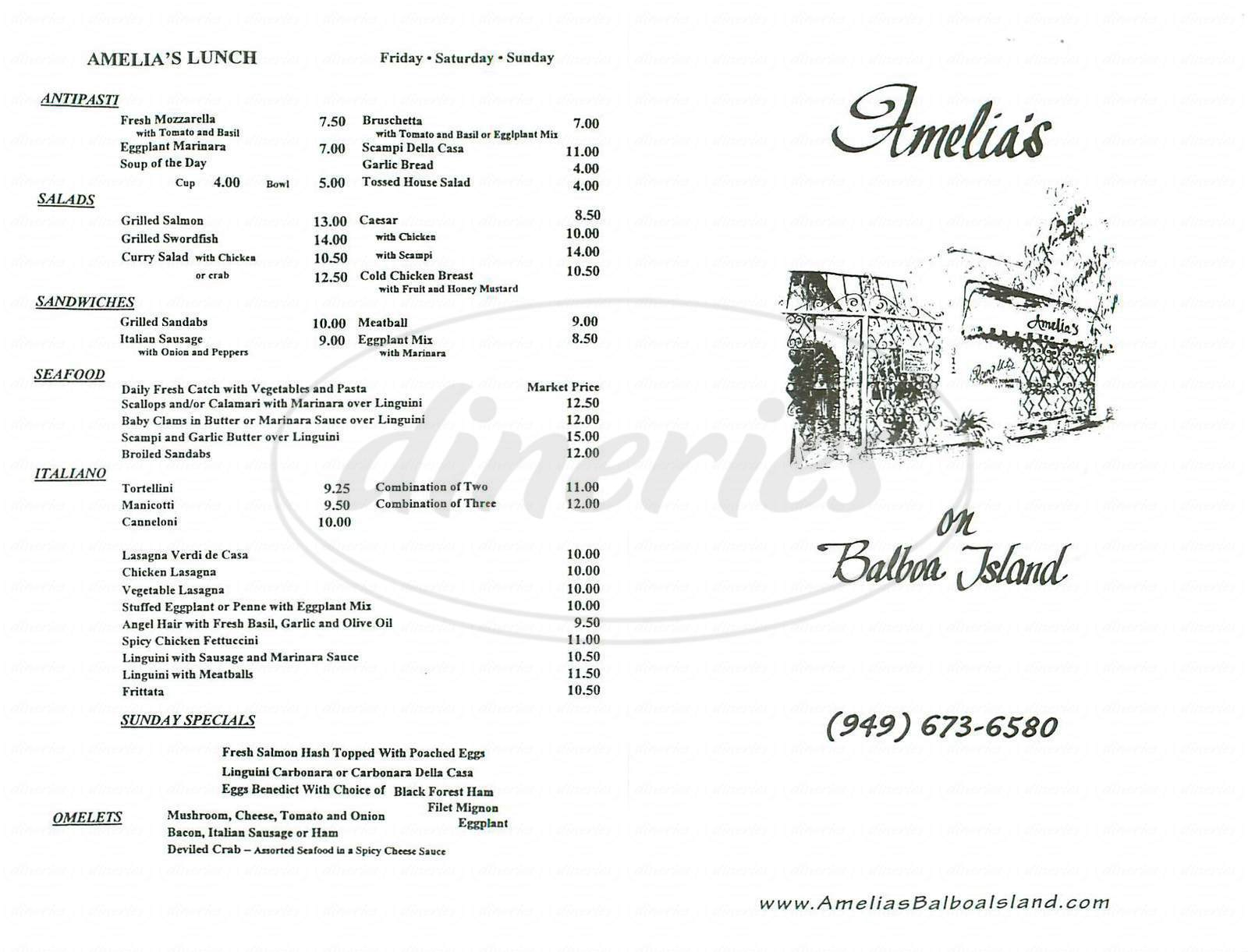 menu for Amelias on Balboa Island