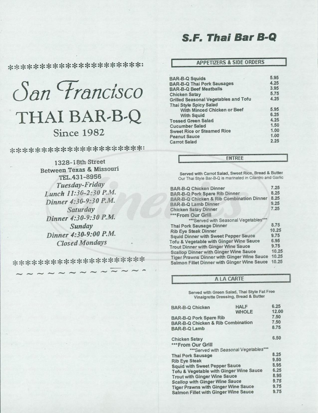 menu for San Francisco Thai Bar-B-Q