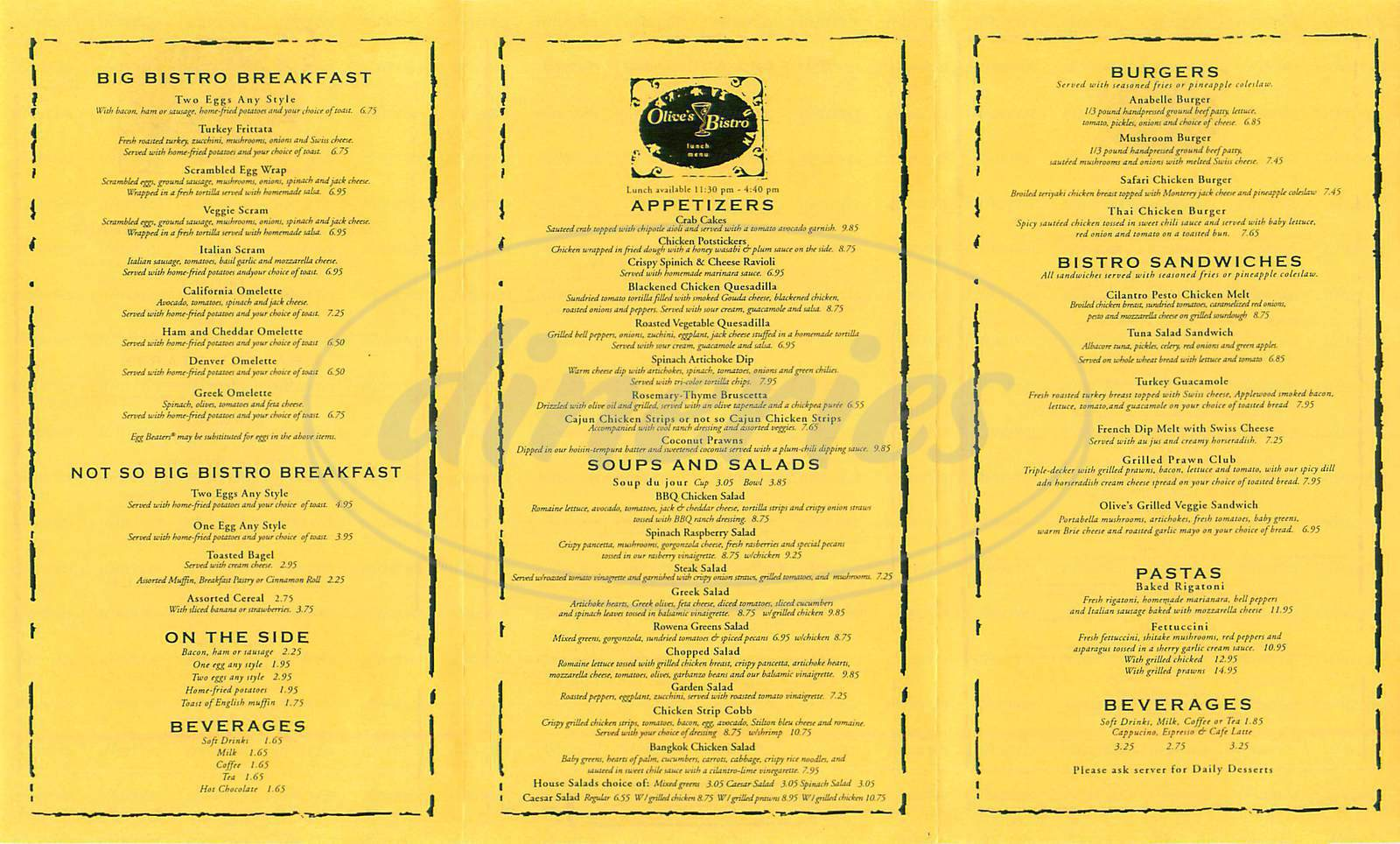 menu for Olives Bistro