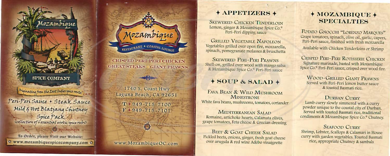 menu for Mozambique Restaurant