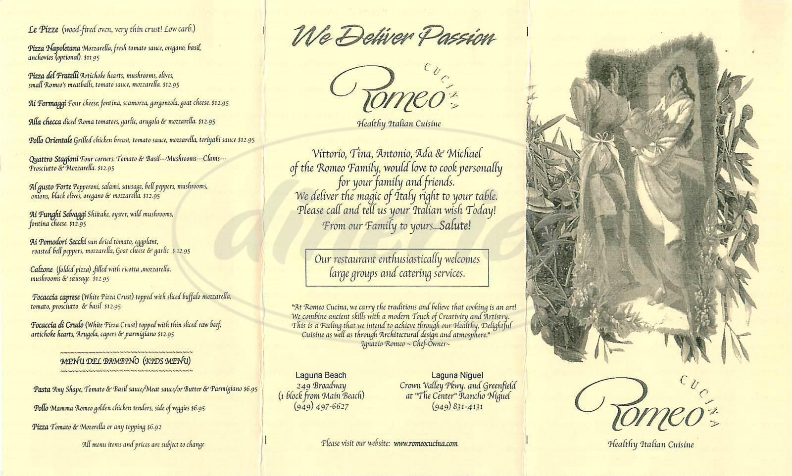 menu for Romeo Cucina