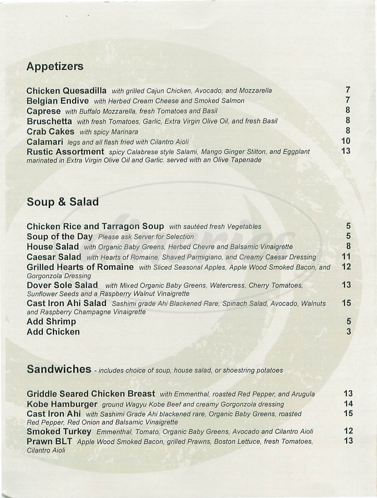 menu for Ocean Brewing Company