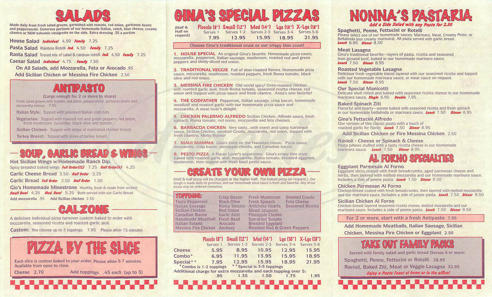menu for Ginas Pizza & Pastaria
