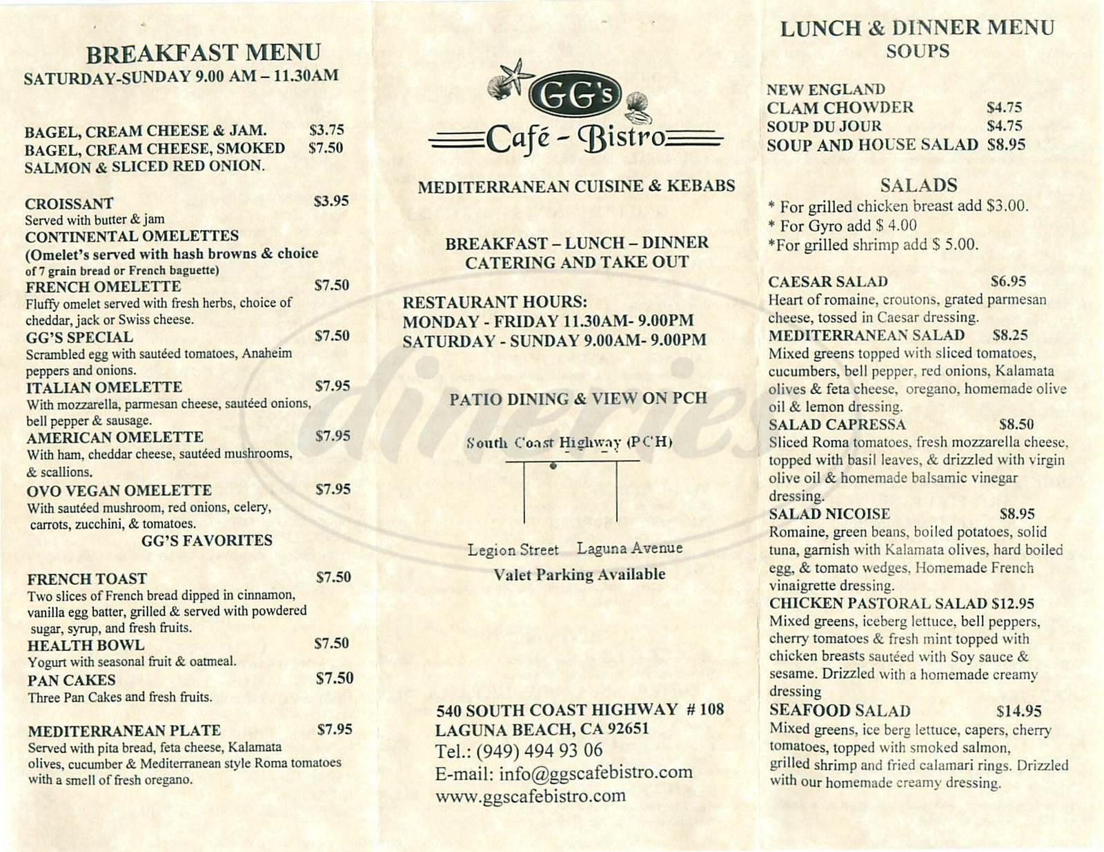 menu for GG's Café Bistro
