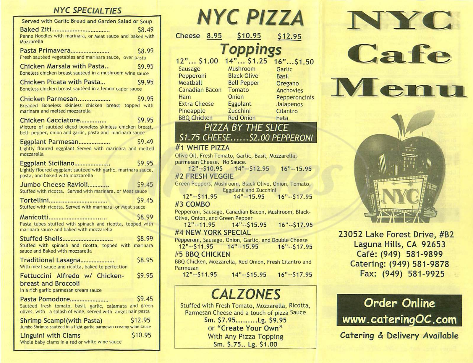 menu for NYC Cafe