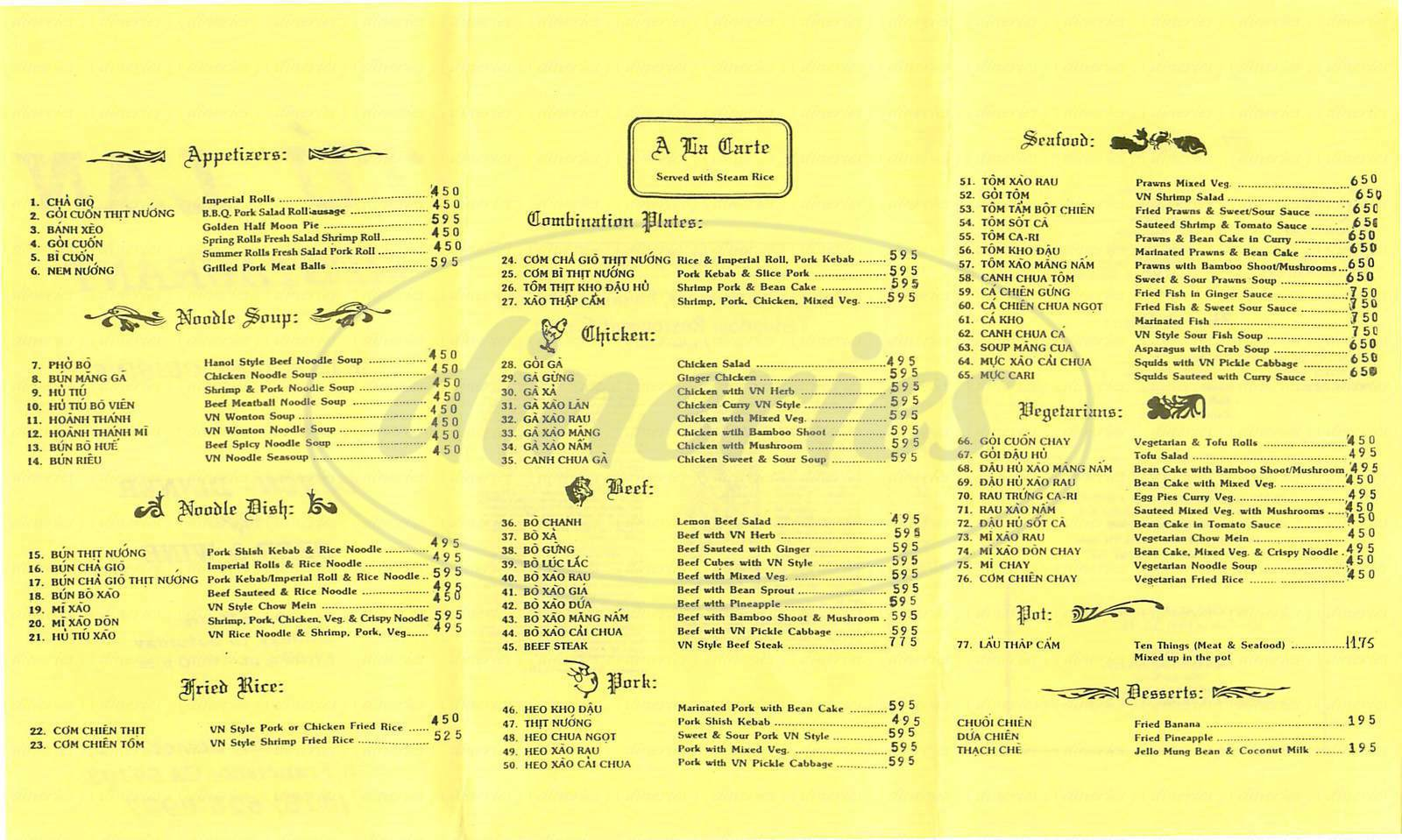 menu for Tu Lan Restaurant