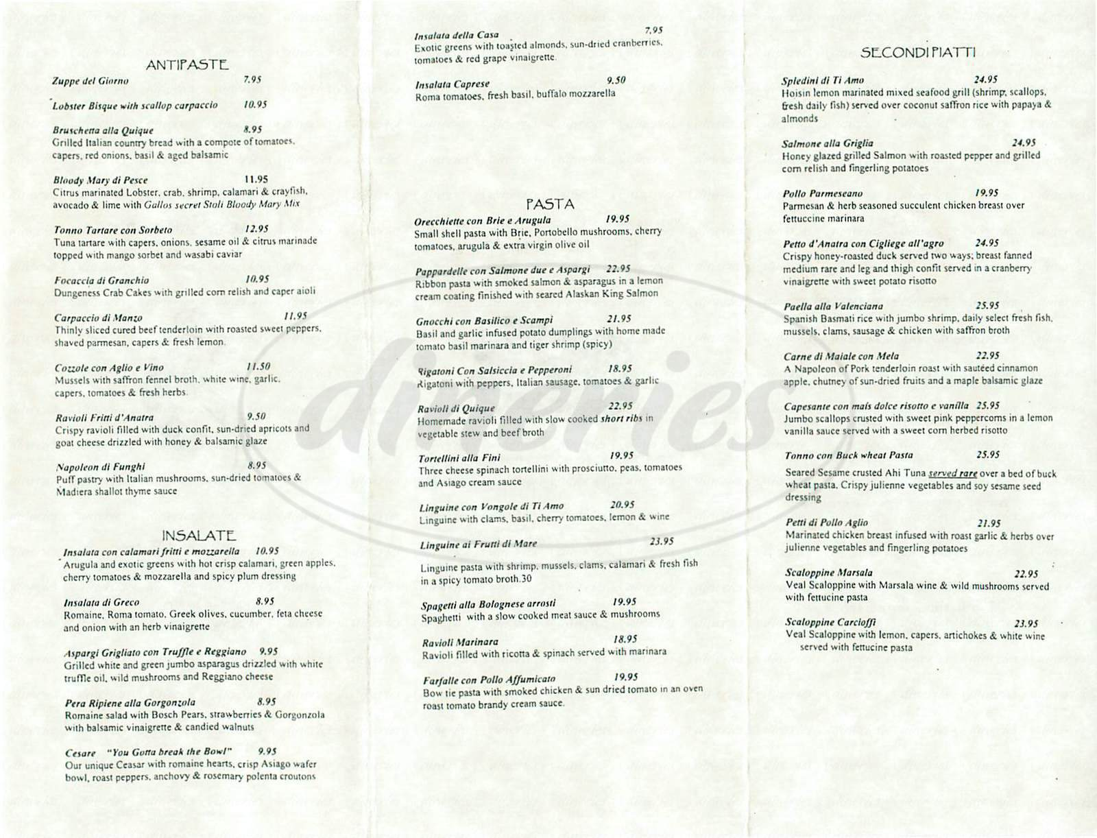 menu for Ti Amo Ristorante