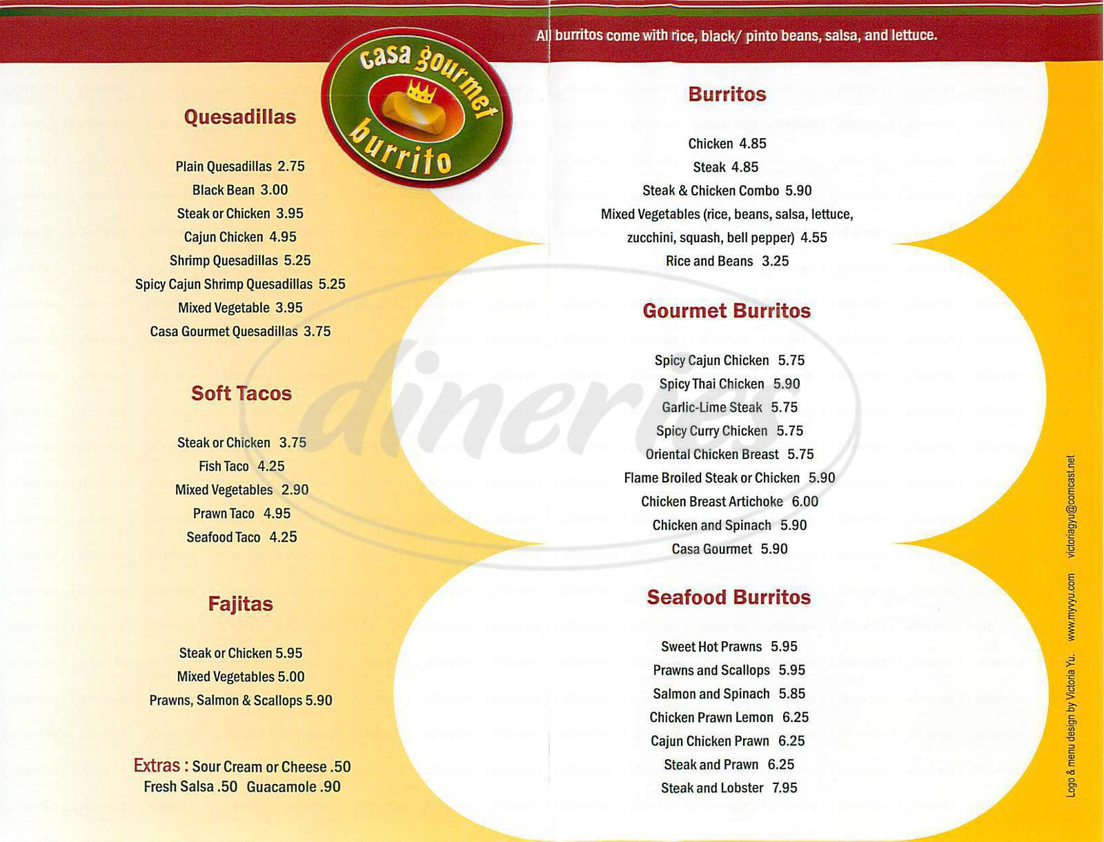 menu for Casa Gourmet Burrito