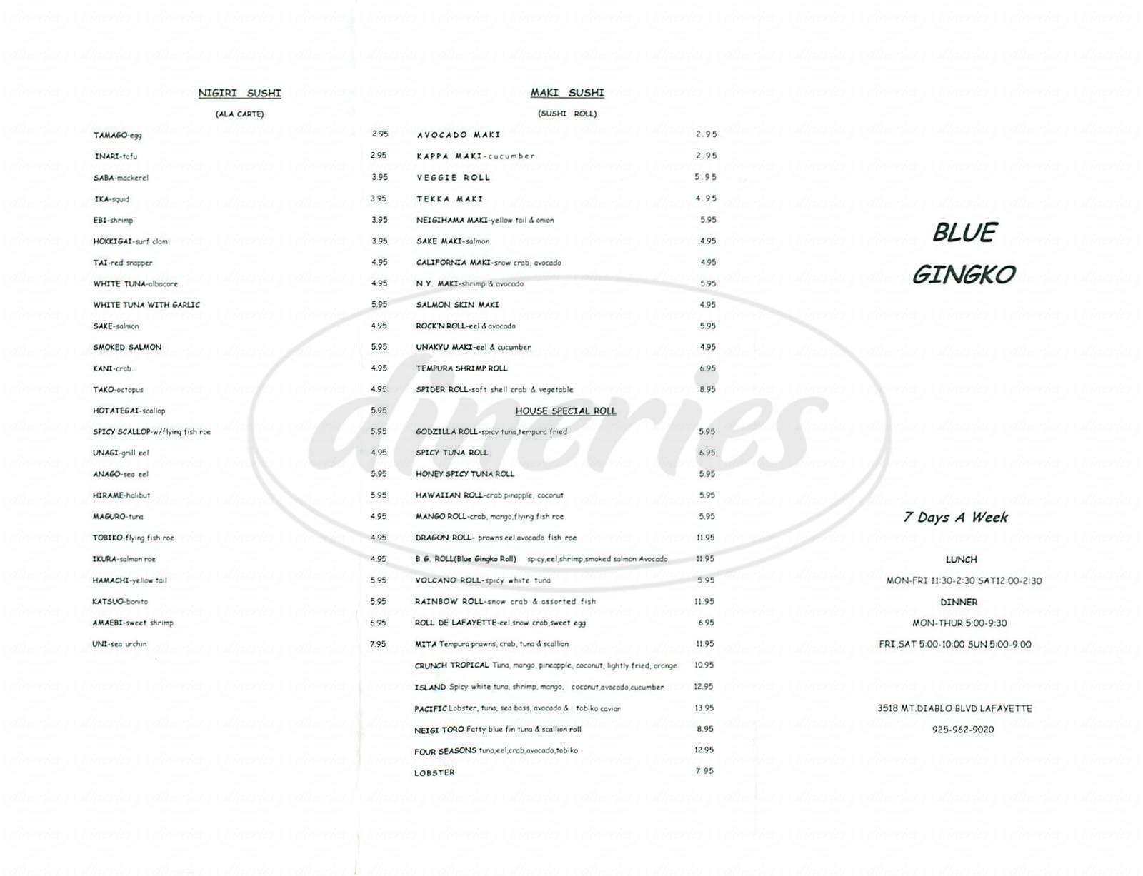 menu for Blue Ginko